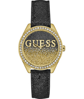 W0823L6 Glitter Girl 36mm Gold ladies watch with leather strap