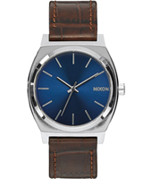 A045-1887 Time Teller  37mm Silver & blue gents watch with brown strap