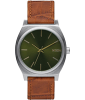 A045-1888 Time Teller  37mm Silver & green gents watch with brown strap