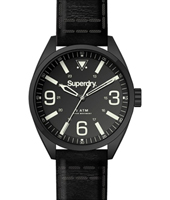 SYG199BB Military 45mm Black Gents Watch on Leather Strap