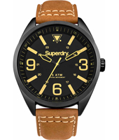 SYG199TB Military 43.50mm Black Gents Watch on Leather Strap