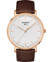 T1096103603100 Everytime 42mm Big Gent Rose Gold with Brown leather strap