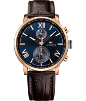 1791308 Alden 44mm Rose gold & blue quartz watch with day-date
