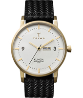 KLST103 Klinga  38mm Ultra thin gold day-date watch with black leather strap