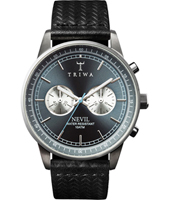 NEST110-2 Nevil Chrono 40mm Ash Nevil Chrono with embossed black leather strap